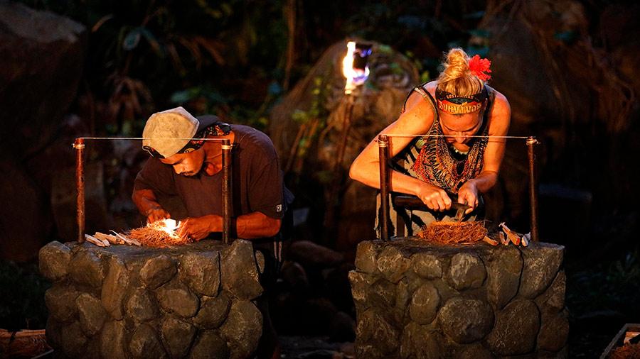 Australian Survivor Jericho and Michelle compete in a fire making challenge