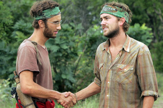 Survivor Tocantins JT and Stephen shaking hands