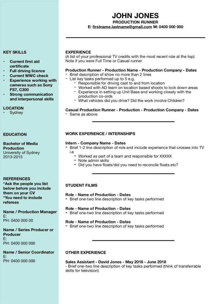 Example Runner CV - Image